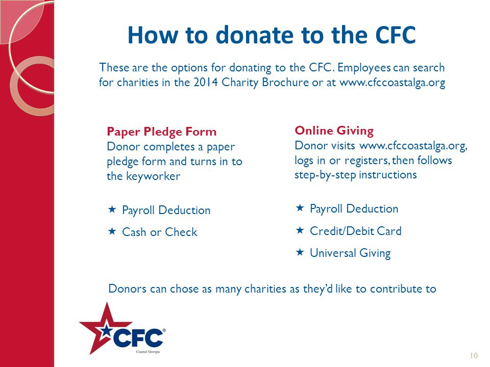 How to donate to the CFC These are the options for donating to the CFC. Employees can search for charities in the 2014 Charity Brochure or at www.cfcc