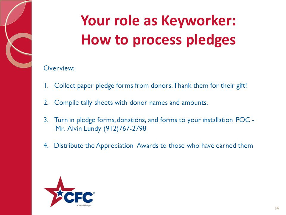 Your role as Keyworker: How to process pledges Overview: 1.Collect paper pledge forms from donors. Thank them for their gift! 2.Compile tally sheets w