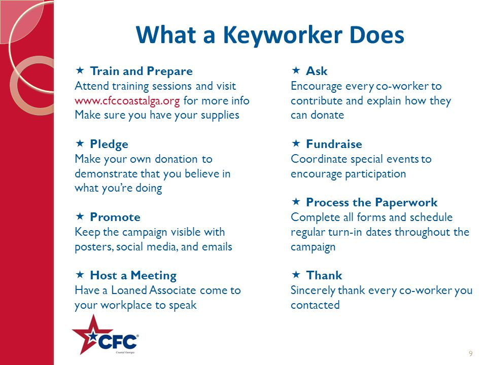What a Keyworker Does  Train and Prepare Attend training sessions and visit www.cfccoastalga.org for more info Make sure you have your supplies  Ple