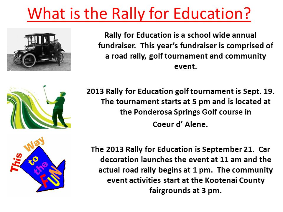 What is the Rally for Education. Rally for Education is a school wide annual fundraiser.