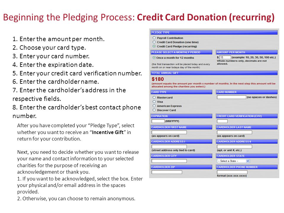 Beginning the Pledging Process: Credit Card Donation (recurring) 1.