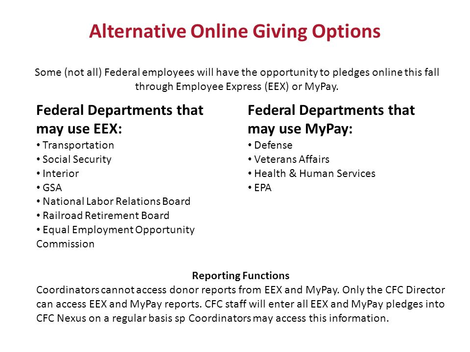 Alternative Online Giving Options Some (not all) Federal employees will have the opportunity to pledges online this fall through Employee Express (EEX) or MyPay.