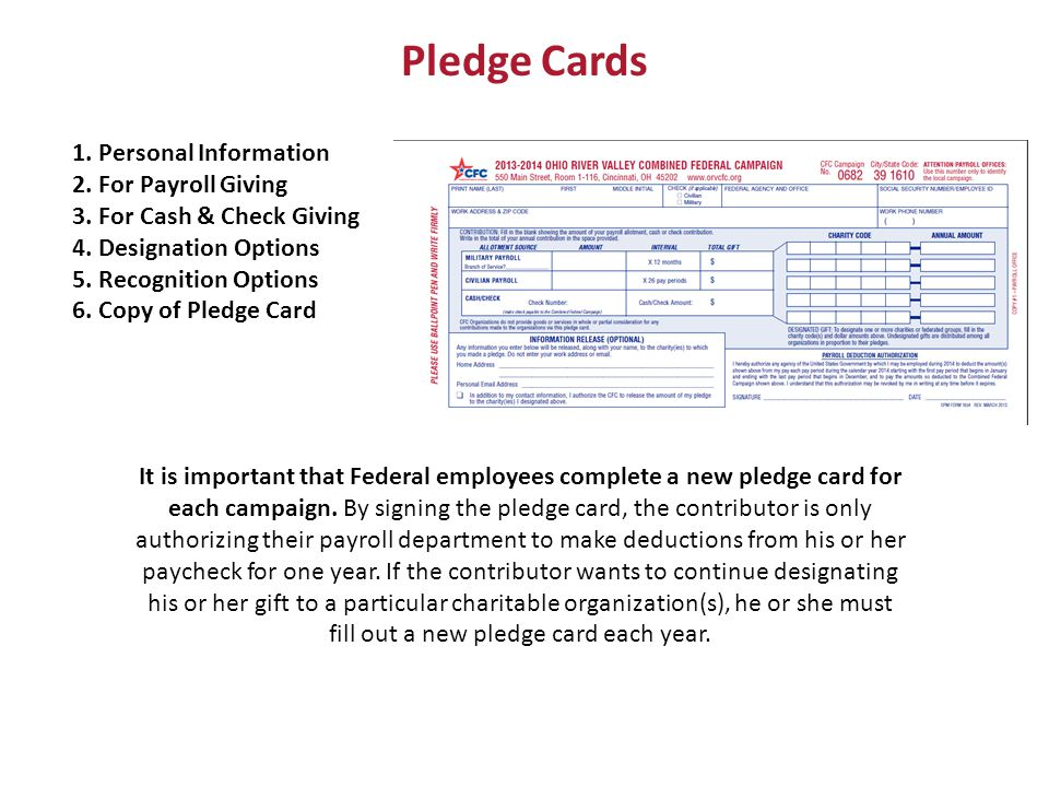 Pledge Cards 1. Personal Information 2. For Payroll Giving 3.