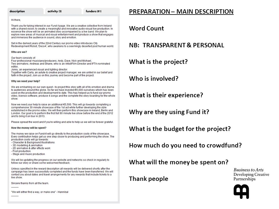 PREPARATION – MAIN DESCRIPTION Word Count NB: TRANSPARENT & PERSONAL What is the project.