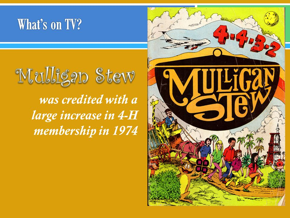 MULLIGAN STEW was credited with a large increase in 4-H membership in 1974