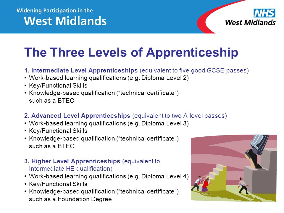 The Three Levels of Apprenticeship 1. Intermediate Level Apprenticeships (equivalent to five good GCSE passes) Work-based learning qualifications (e.g