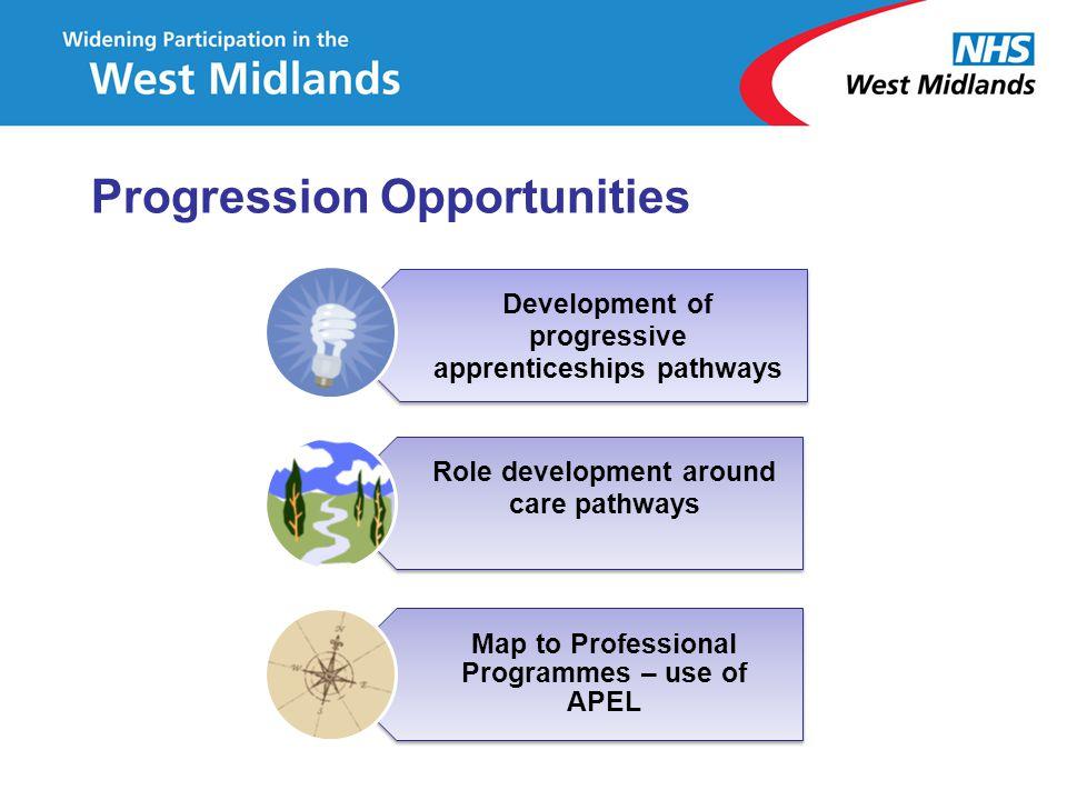 Progression Opportunities Development of progressive apprenticeships pathways Role development around care pathways Map to Professional Programmes – u