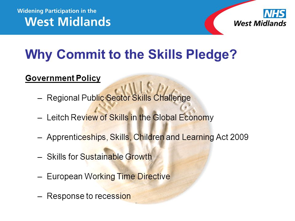 Government Policy –Regional Public Sector Skills Challenge –Leitch Review of Skills in the Global Economy –Apprenticeships, Skills, Children and Learn