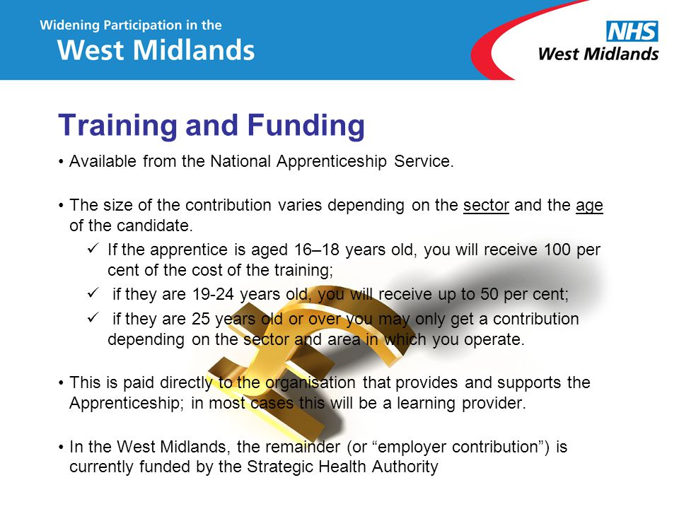 Training and Funding Available from the National Apprenticeship Service. The size of the contribution varies depending on the sector and the age of th