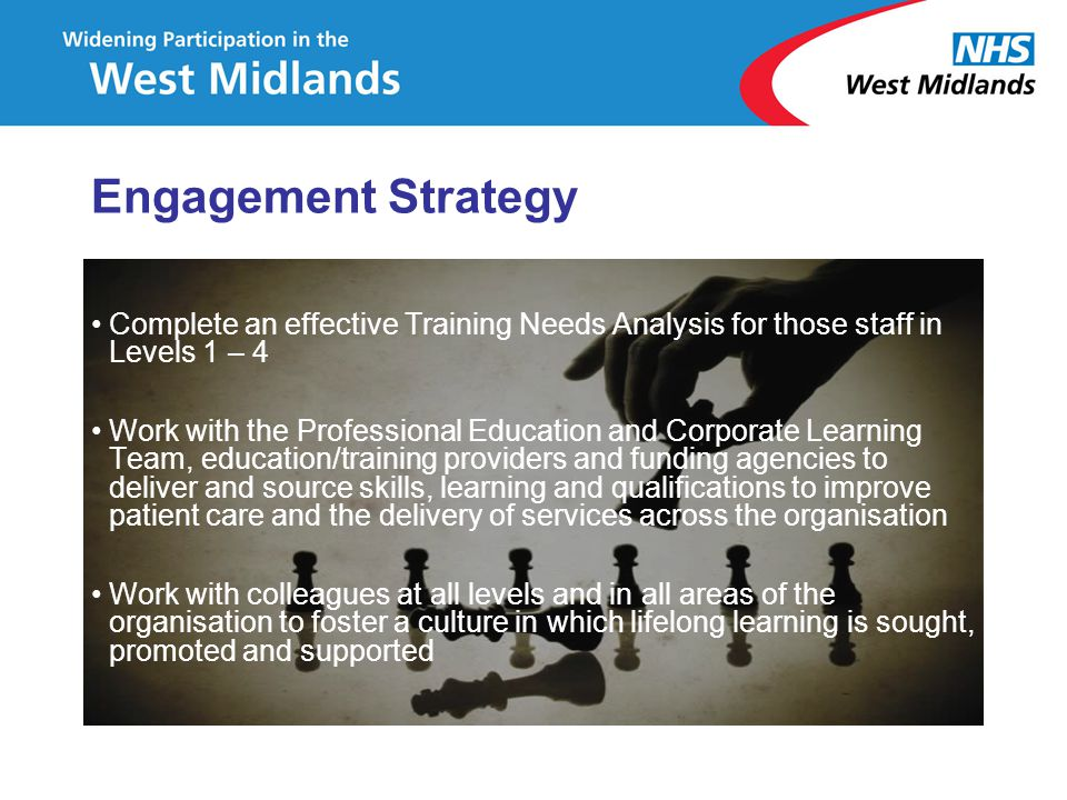 Complete an effective Training Needs Analysis for those staff in Levels 1 – 4 Work with the Professional Education and Corporate Learning Team, educat
