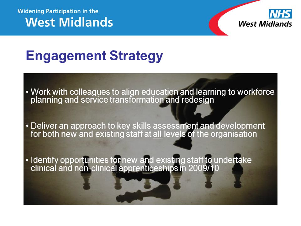 Work with colleagues to align education and learning to workforce planning and service transformation and redesign Deliver an approach to key skills a