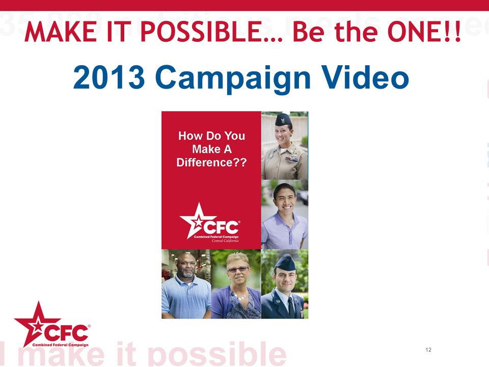 12 2013 Campaign Video MAKE IT POSSIBLE… Be the ONE!!