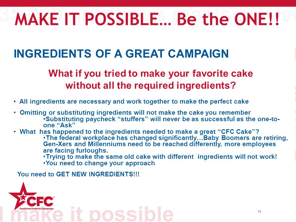 18 INGREDIENTS OF A GREAT CAMPAIGN What if you tried to make your favorite cake without all the required ingredients.