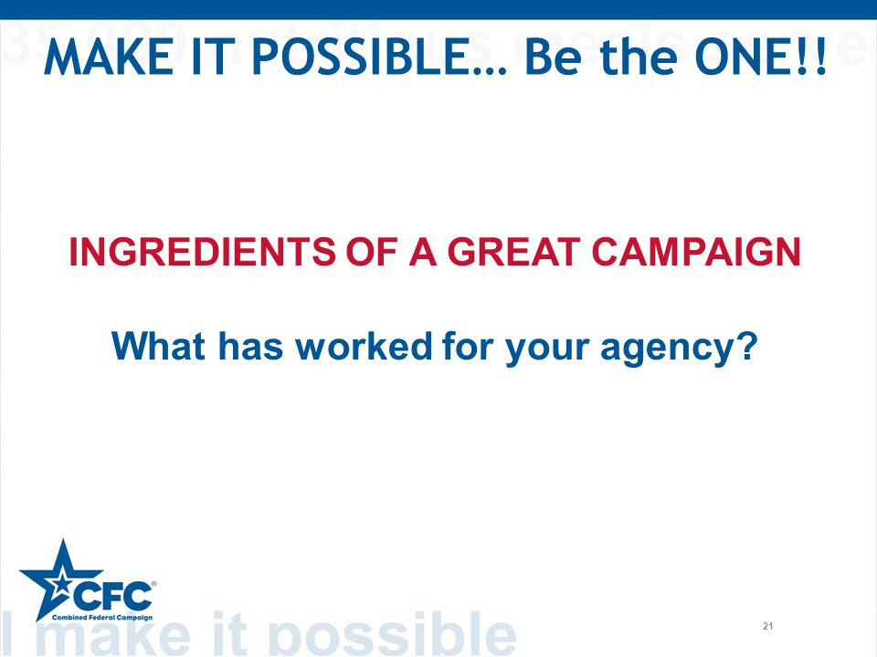 21 MAKE IT POSSIBLE… Be the ONE!! INGREDIENTS OF A GREAT CAMPAIGN What has worked for your agency