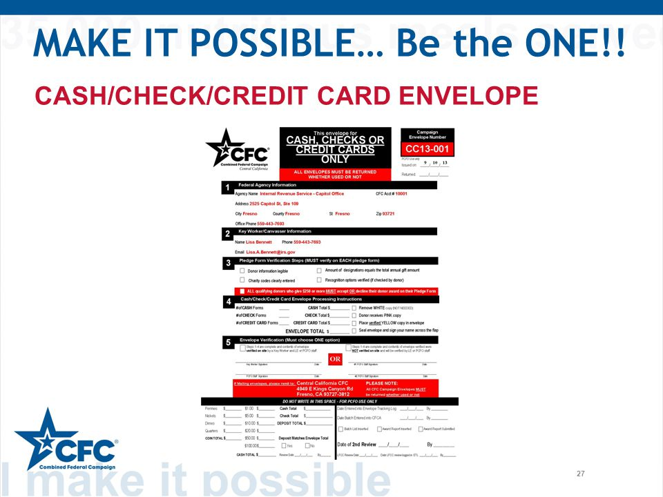 27 CASH/CHECK/CREDIT CARD ENVELOPE MAKE IT POSSIBLE… Be the ONE!!