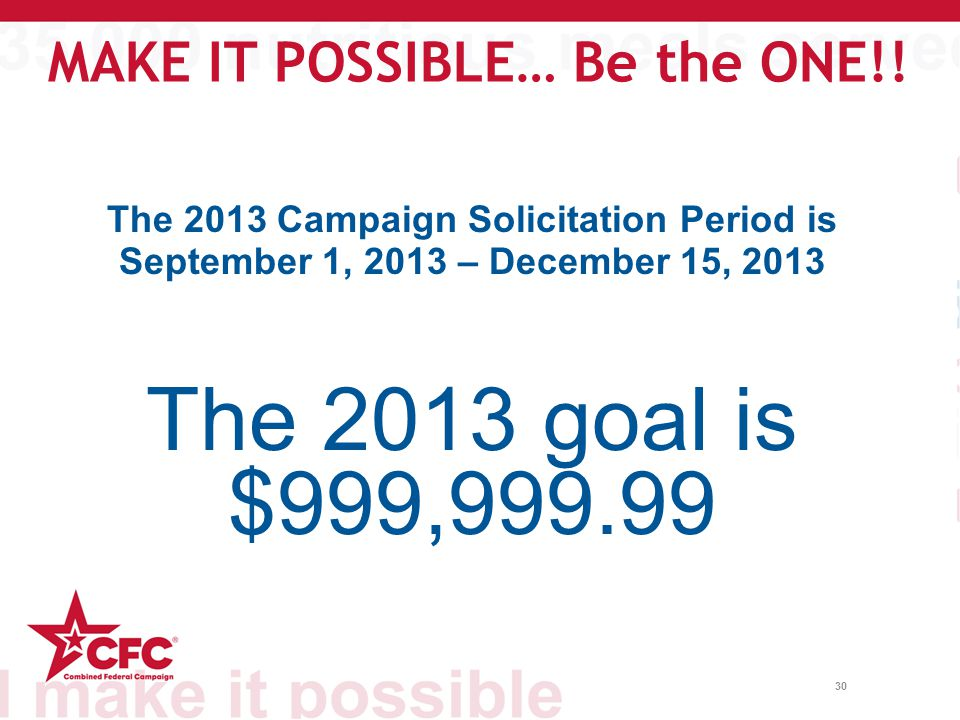 30 The 2013 Campaign Solicitation Period is September 1, 2013 – December 15, 2013 The 2013 goal is $999,999.99 MAKE IT POSSIBLE… Be the ONE!!