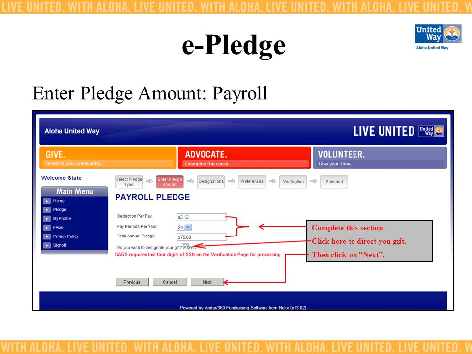 e-Pledge Enter Pledge Amount: Payroll Complete this section.