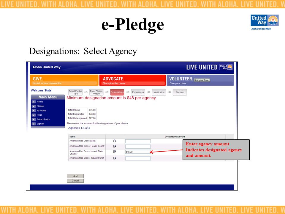 e-Pledge Designations: Select Agency Enter agency amount Indicates designated agency and amount.