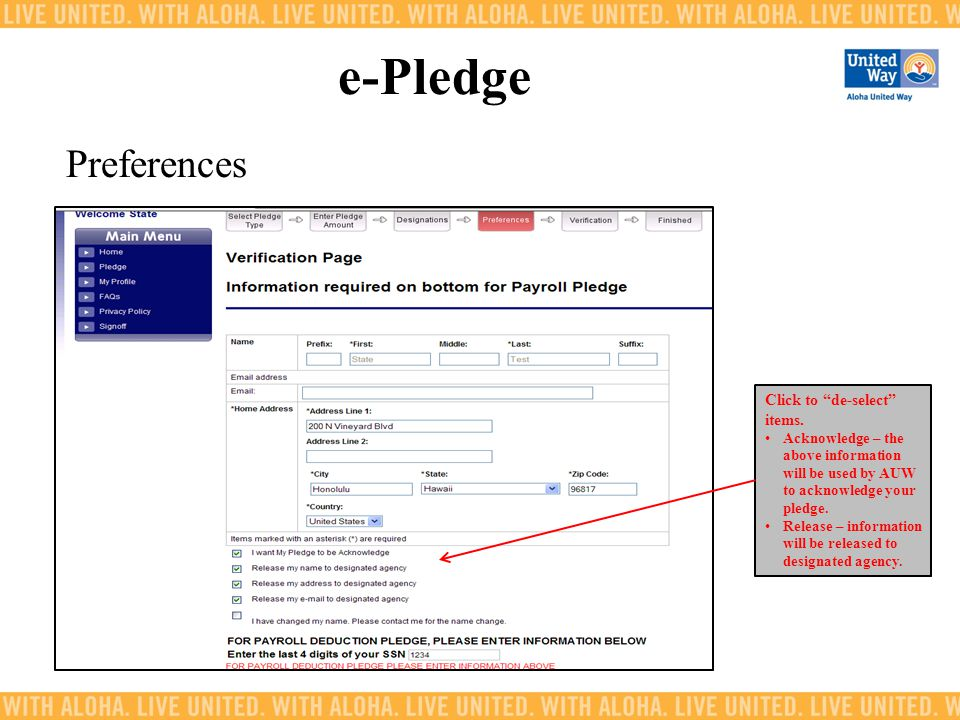e-Pledge Preferences Click to de-select items.