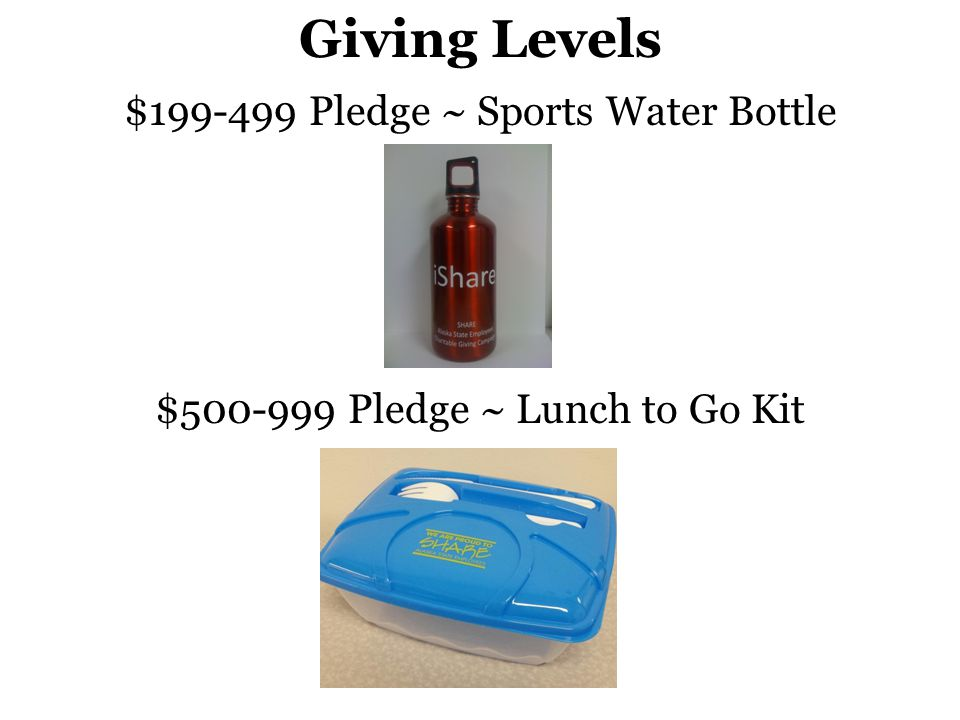 Giving Levels $199-499 Pledge ~ Sports Water Bottle $500-999 Pledge ~ Lunch to Go Kit
