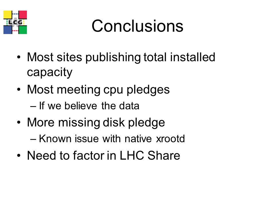 Conclusions Most sites publishing total installed capacity Most meeting cpu pledges –If we believe the data More missing disk pledge –Known issue with