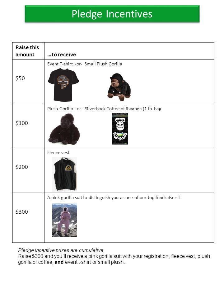 Pledge Incentives Raise this amount…to receive $50 Event T-shirt -or- Small Plush Gorilla $100 Plush Gorilla -or- Silverback Coffee of Rwanda (1 lb. b