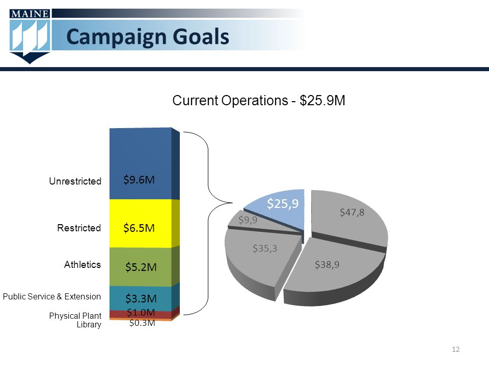 Campaign Goals Current Operations - $25.9M Unrestricted Restricted Athletics Physical Plant Library Public Service & Extension 12