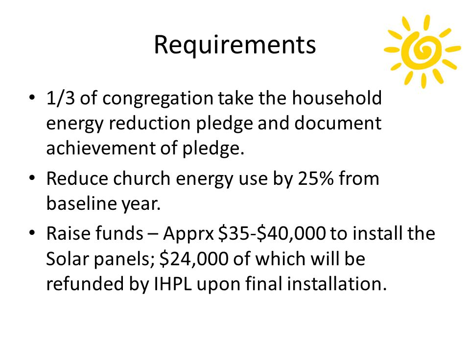 Requirements Promoting and hosting a Solar Leadership Party and Forum upon installation of solar panels.