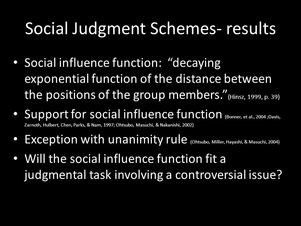 Social Judgment Schemes- results Social influence function: decaying exponential function of the distance between the positions of the group members. (Hinsz, 1999, p.