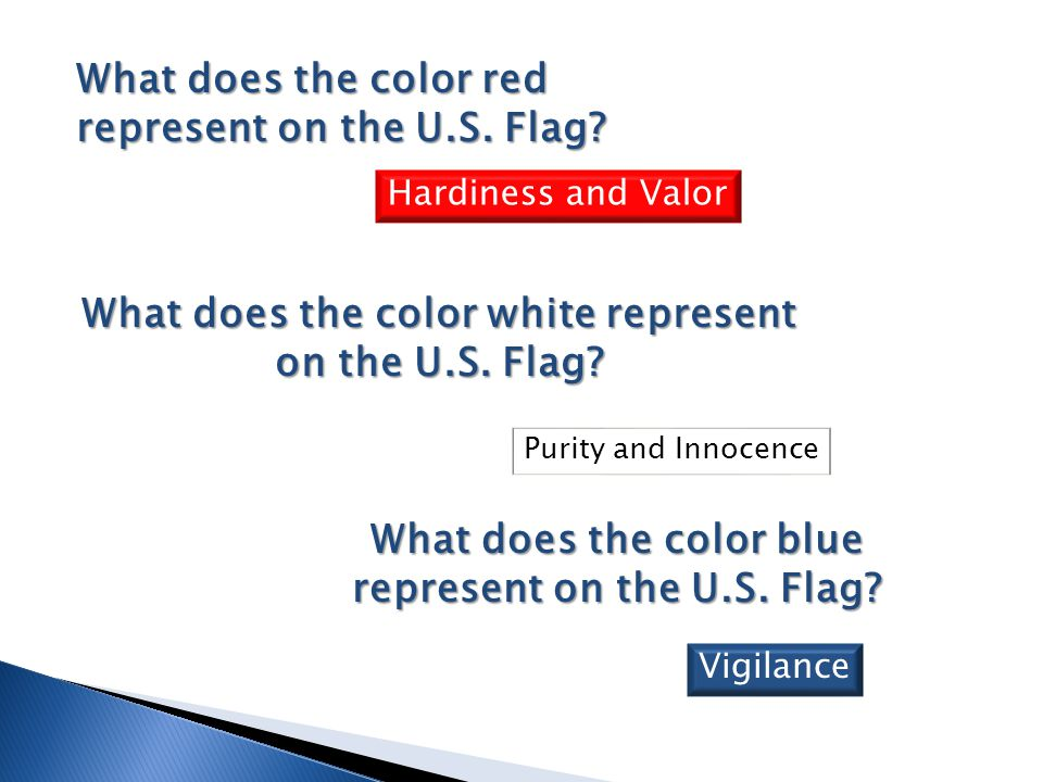 What does the color red represent on the U.S. Flag? What does the color blue represent on the U.S. Flag? Hardiness and Valor Vigilance What does the c