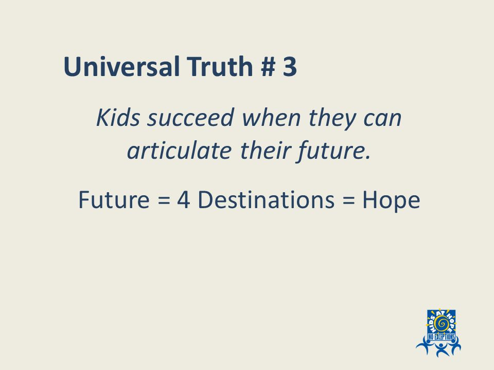 Universal Truth # 3 Kids succeed when they can articulate their future.