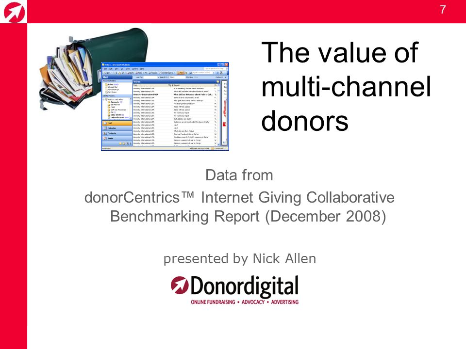 7 The value of multi-channel donors Data from donorCentrics™ Internet Giving Collaborative Benchmarking Report (December 2008) presented by Nick Allen
