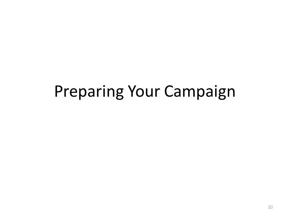 Preparing Your Campaign 20