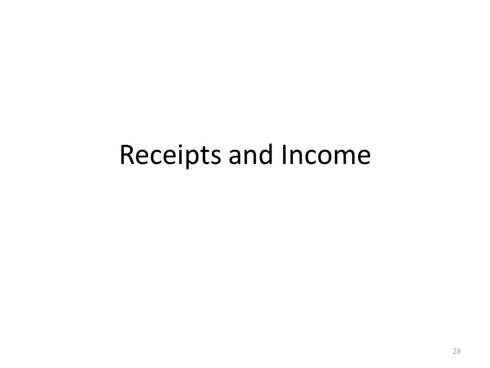 Receipts and Income 28