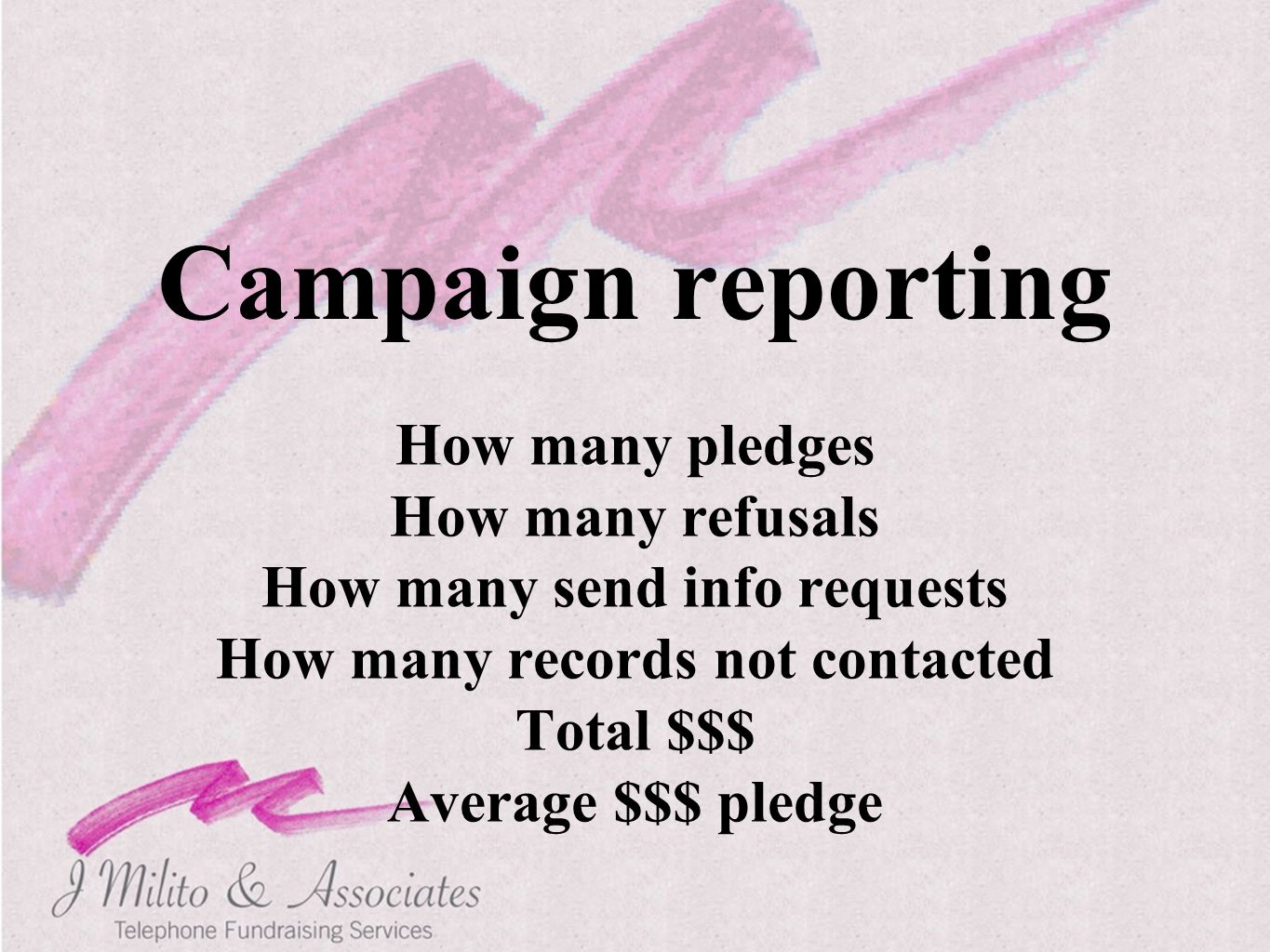 Campaign reporting How many pledges How many refusals How many send info requests How many records not contacted Total $$$ Average $$$ pledge