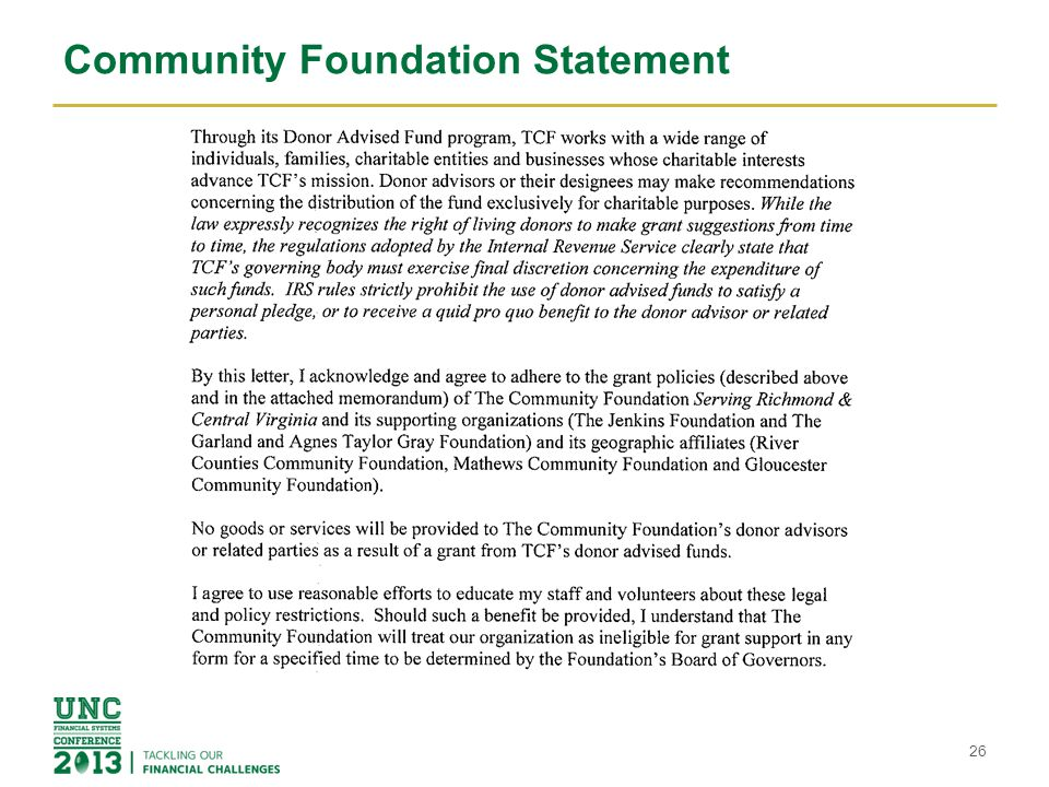 Community Foundation Statement 26