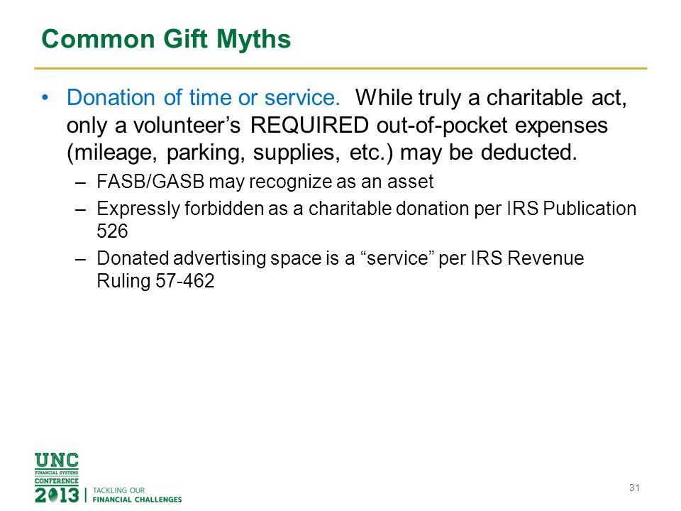 Common Gift Myths Donation of time or service. While truly a charitable act, only a volunteer's REQUIRED out-of-pocket expenses (mileage, parking, sup