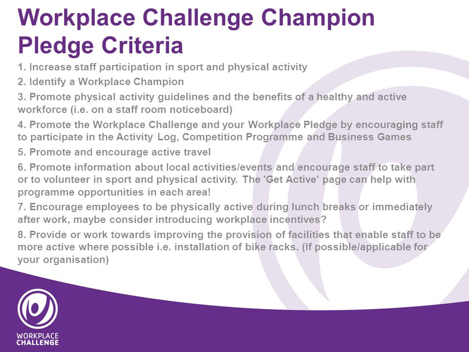 Workplace Challenge Champion Pledge Criteria 1.
