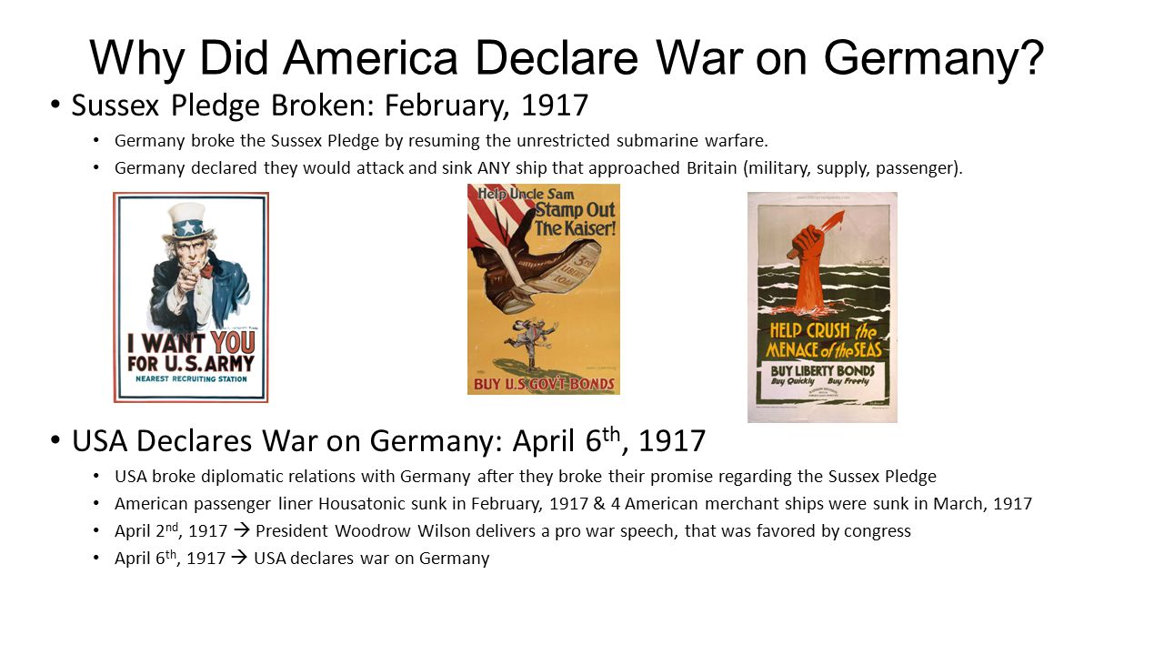 America Joins the War When.Declared war on April 6 th, 1917, and arrived in Europe in the summer.