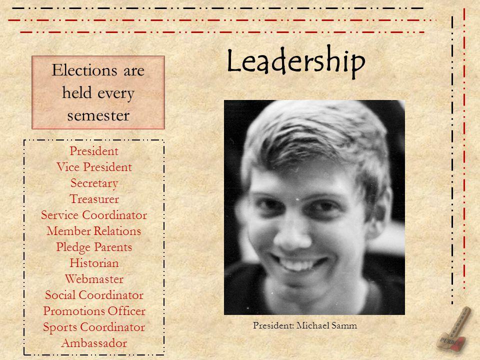 Leadership President Vice President Secretary Treasurer Service Coordinator Member Relations Pledge Parents Historian Webmaster Social Coordinator Pro