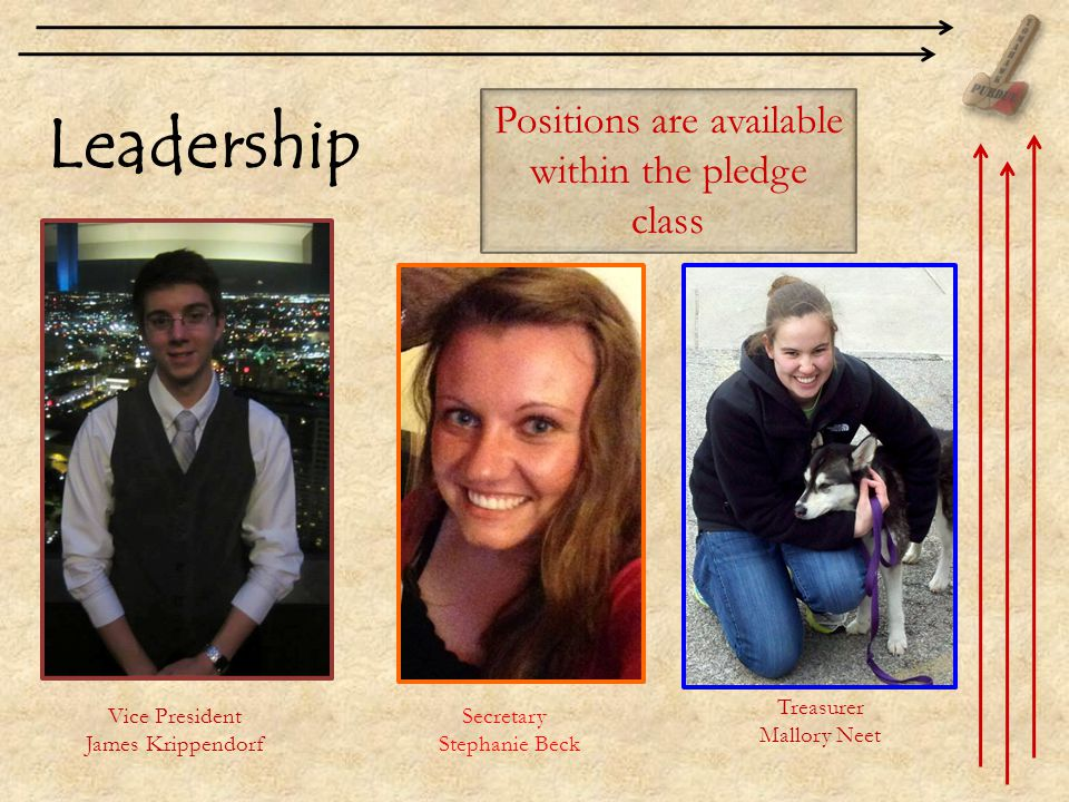 Leadership Positions are available within the pledge class Secretary Stephanie Beck Vice President James Krippendorf Treasurer Mallory Neet