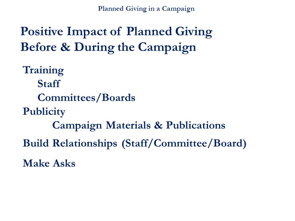 Planned Giving in a Campaign Build Relationships (Staff/Committee/Board) Training Staff Committees/Boards Publicity Campaign Materials & Publications Positive Impact of Planned Giving Before & During the Campaign Make Asks