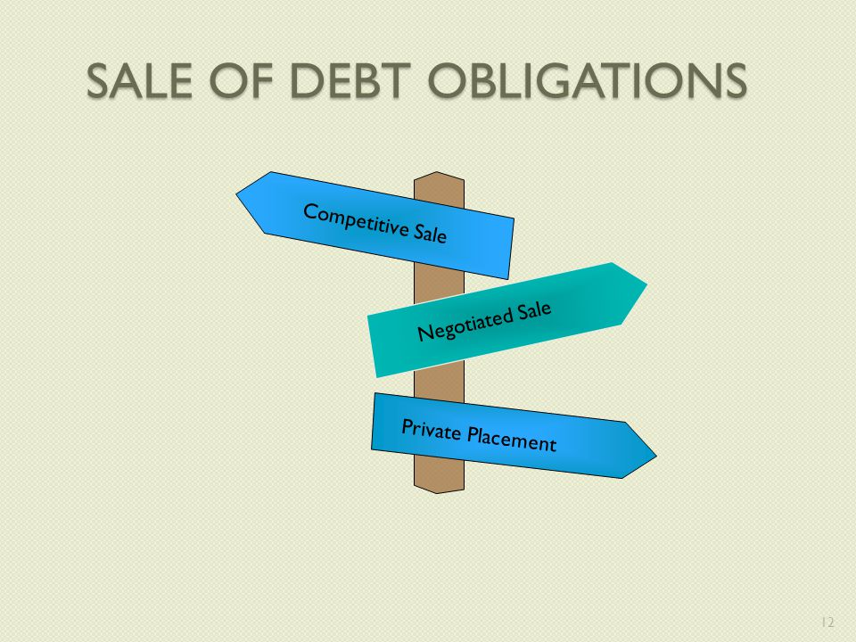 SALE OF DEBT OBLIGATIONS Competitive Sale Negotiated Sale Private Placement 12