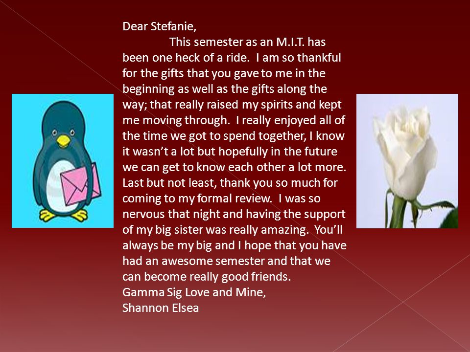 Dear Stefanie, This semester as an M.I.T.has been one heck of a ride.