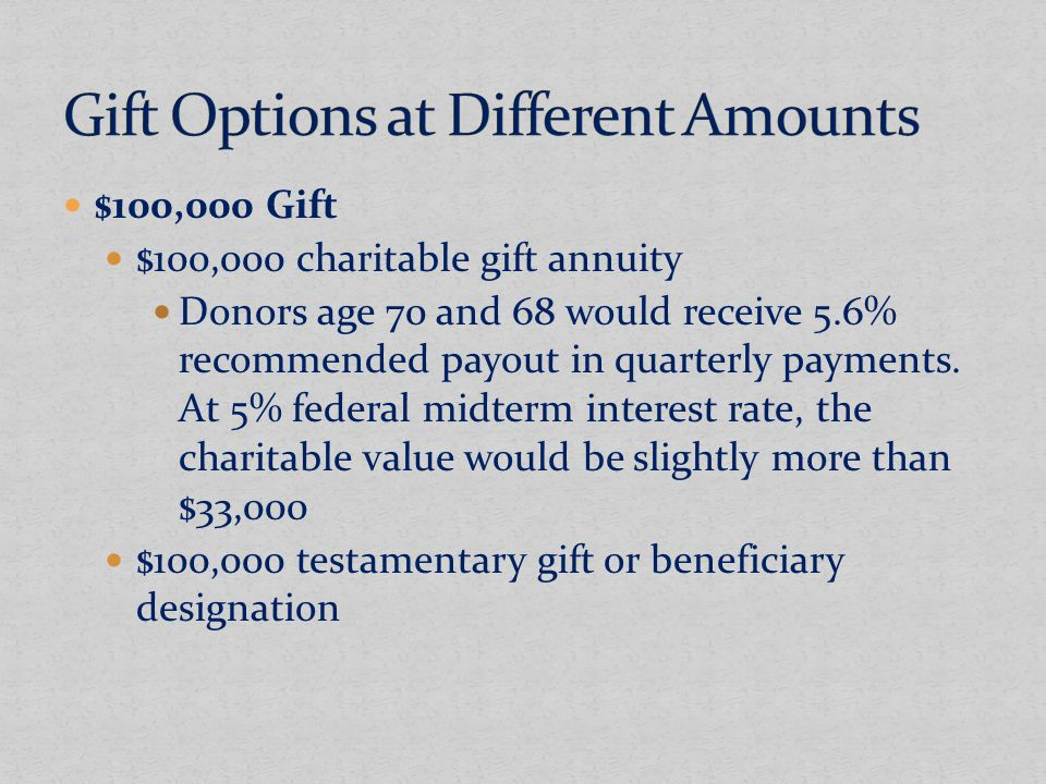 $100,000 Gift $100,000 charitable gift annuity Donors age 70 and 68 would receive 5.6% recommended payout in quarterly payments.