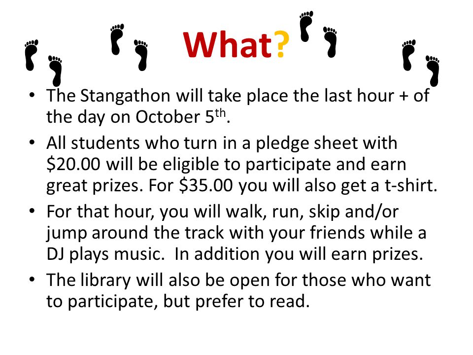 What.The Stangathon will take place the last hour + of the day on October 5 th.