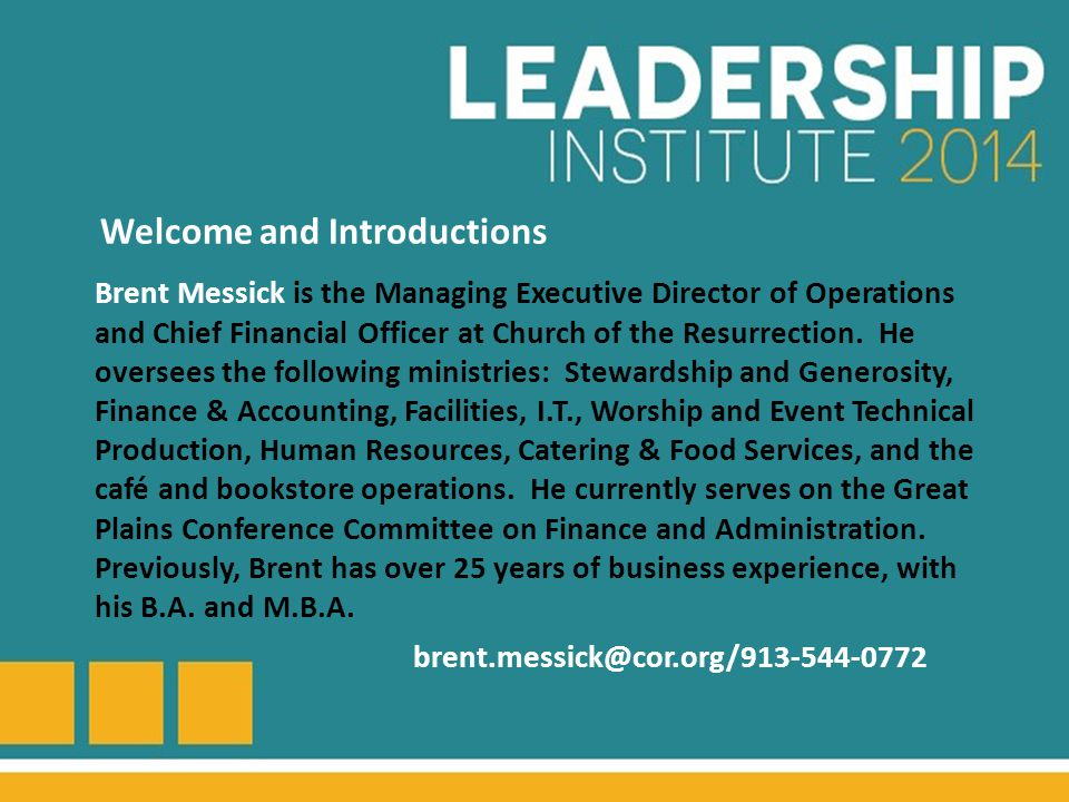 Brent Messick is the Managing Executive Director of Operations and Chief Financial Officer at Church of the Resurrection.