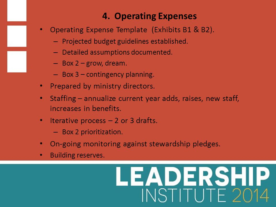 4. Operating Expenses Operating Expense Template (Exhibits B1 & B2).