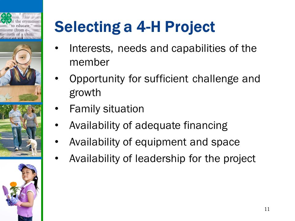 11 Selecting a 4-H Project Interests, needs and capabilities of the member Opportunity for sufficient challenge and growth Family situation Availabili