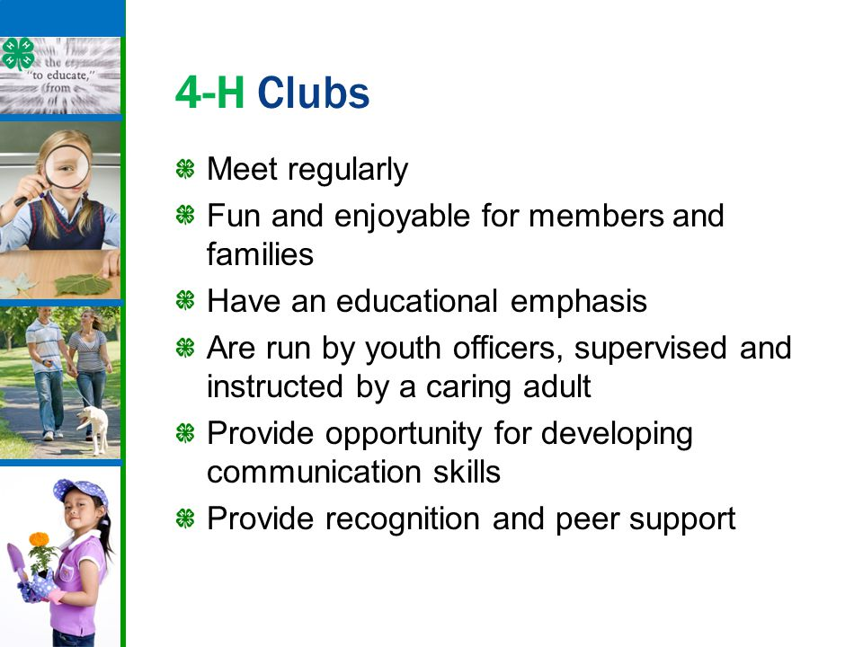 4-H Clubs Meet regularly Fun and enjoyable for members and families Have an educational emphasis Are run by youth officers, supervised and instructed